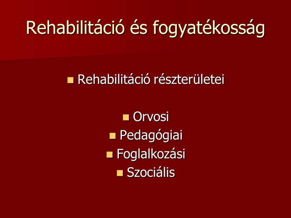 Rehabilitáció és fogyatékosság Rehabilitáció részterületei Rehabilitáció részterületei Orvosi Orvosi Pedagógiai Pedagógiai Foglalkozási Foglalkozási S