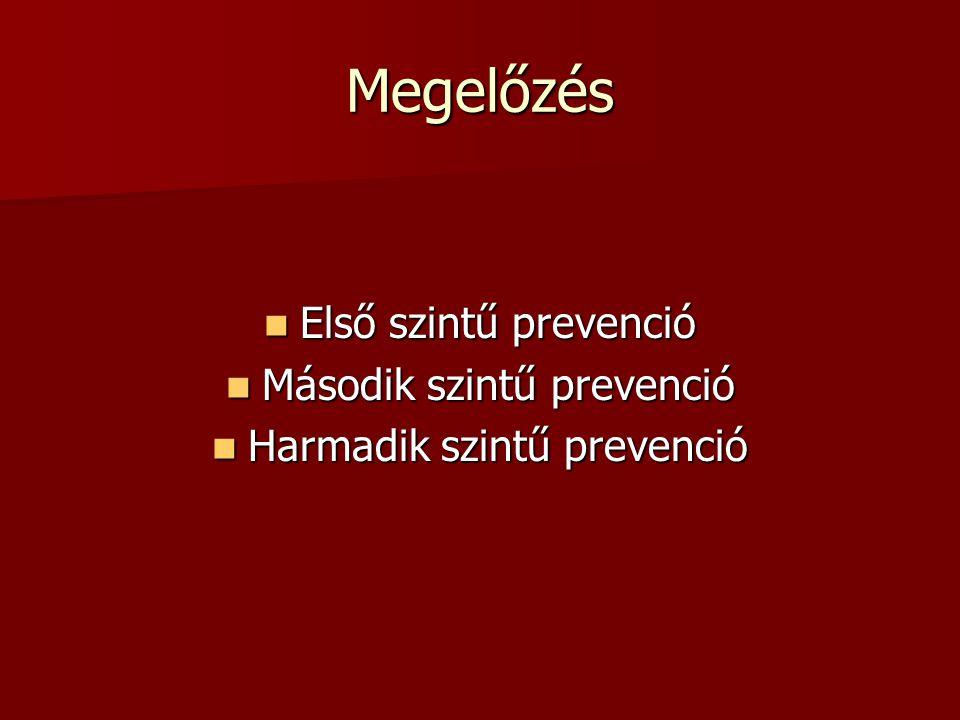 Megelőzés Első szintű prevenció Első szintű prevenció Második szintű prevenció Második szintű prevenció Harmadik szintű prevenció Harmadik szintű prev