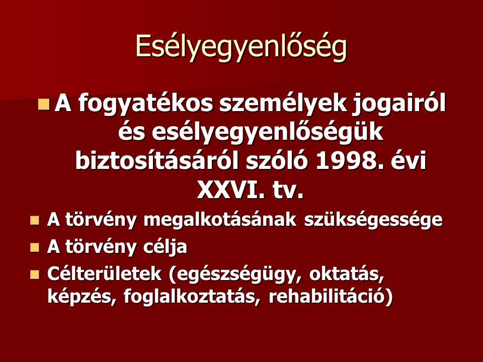 Esélyegyenlőség A fogyatékos személyek jogairól és esélyegyenlőségük biztosításáról szóló 1998. évi XXVI. tv. A fogyatékos személyek jogairól és esély