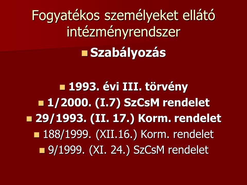 Fogyatékos személyeket ellátó intézményrendszer Szabályozás Szabályozás 1993. évi III. törvény 1993. évi III. törvény 1/2000. (I.7) SzCsM rendelet 1/2