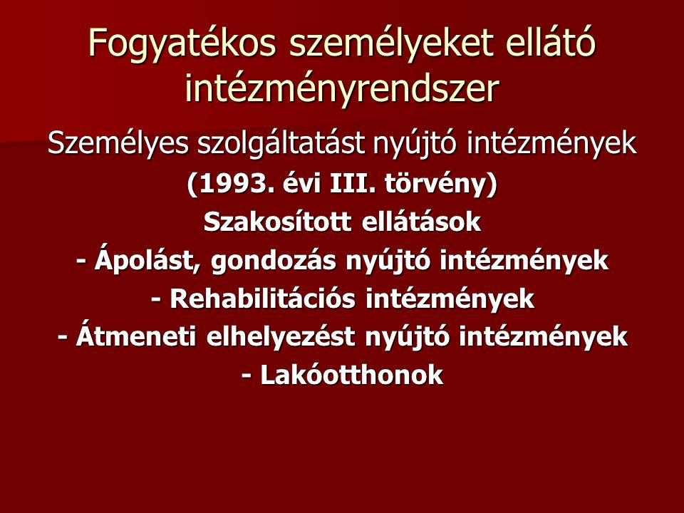 Fogyatékos személyeket ellátó intézményrendszer Személyes szolgáltatást nyújtó intézmények (1993. évi III. törvény) Szakosított ellátások - Ápolást, g