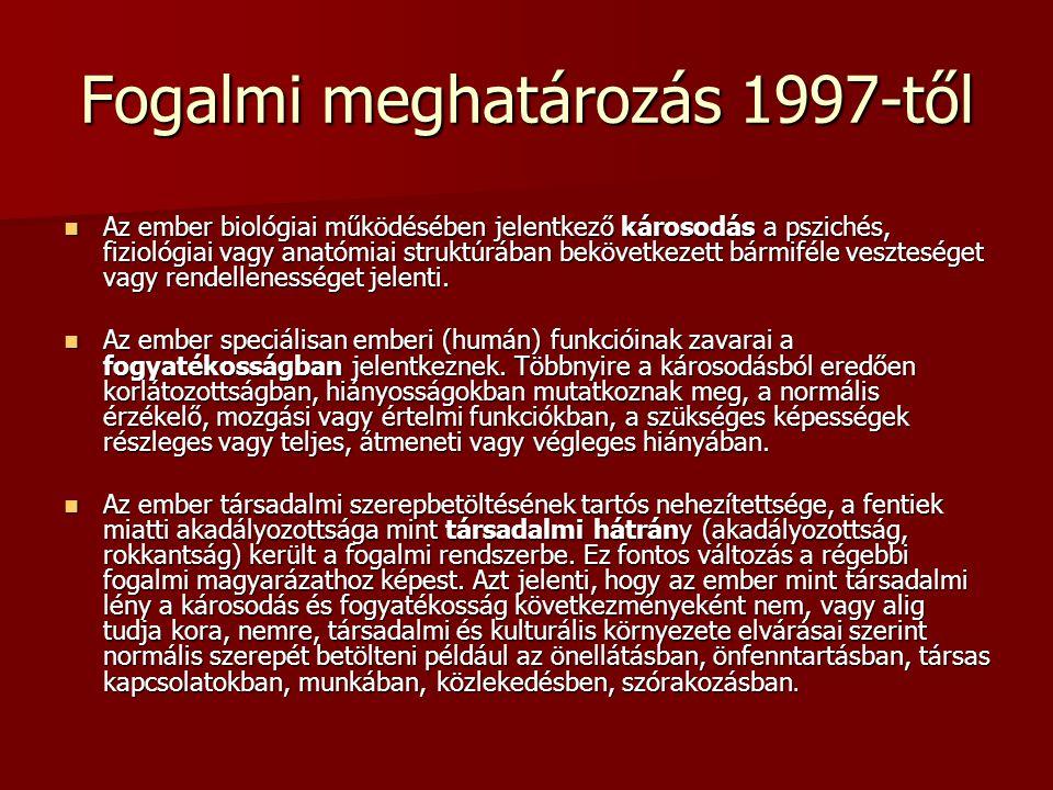 Fogalmi meghatározás 1997-től Az ember biológiai működésében jelentkező károsodás a pszichés, fiziológiai vagy anatómiai struktúrában bekövetkezett bá