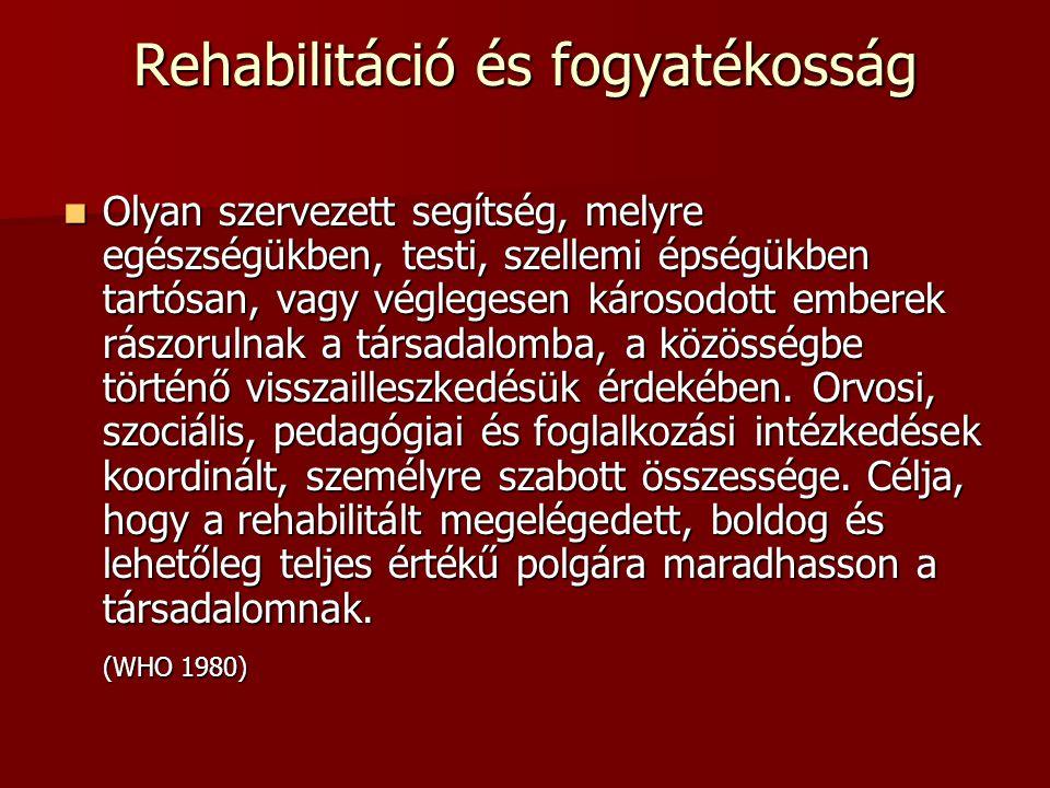 Rehabilitáció és fogyatékosság Olyan szervezett segítség, melyre egészségükben, testi, szellemi épségükben tartósan, vagy véglegesen károsodott embere