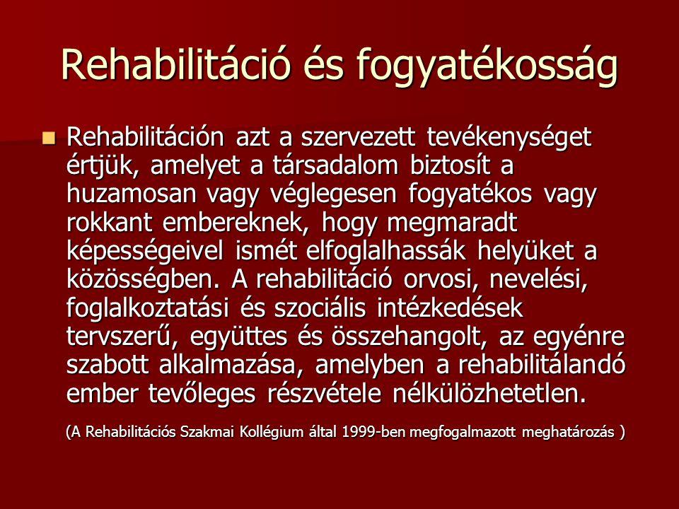 Rehabilitáció és fogyatékosság Rehabilitáción azt a szervezett tevékenységet értjük, amelyet a társadalom biztosít a huzamosan vagy véglegesen fogyaté