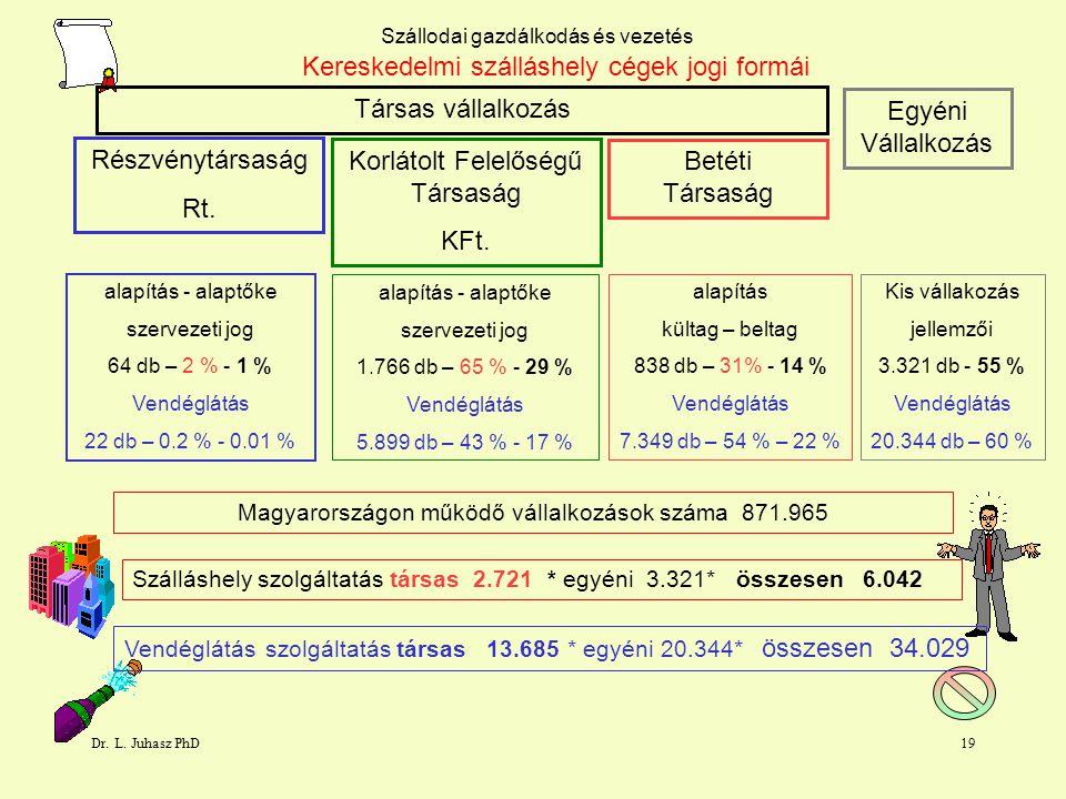 Dr. L. Juhasz PhD18 Szállodai gazdálkodás és vezetés Szállodai befektetések Parlament 4*65belvárosmegnyílt 2006 Best Western Danoube4*175 buda Dunapar