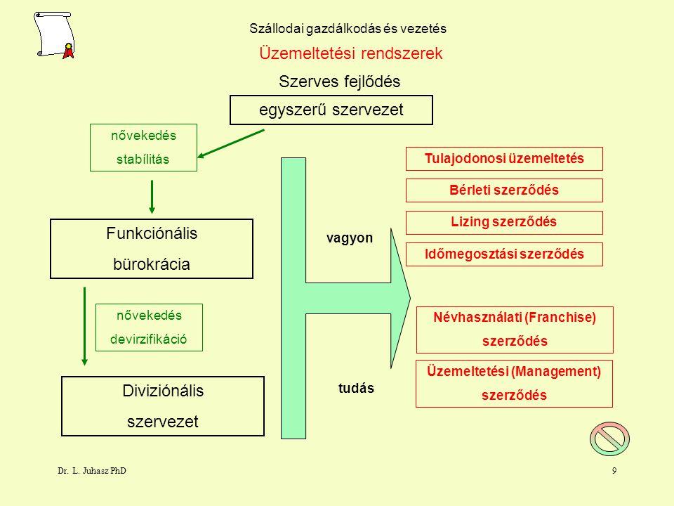 Dr. L. Juhasz PhD8 Szállodai gazdálkodás és vezetés Tulajdonosi konstrukciók Önálló szállodaSzállodaláncokSzálloda csoport Előny tőkésített tudás több