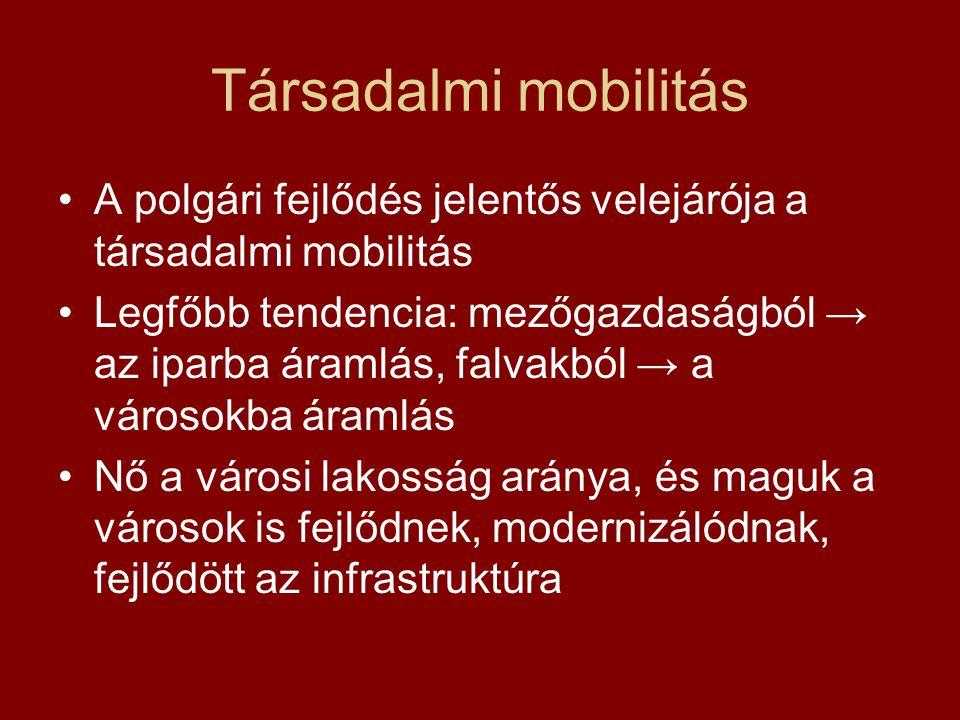 Társadalmi mobilitás A polgári fejlődés jelentős velejárója a társadalmi mobilitás Legfőbb tendencia: mezőgazdaságból → az iparba áramlás, falvakból →