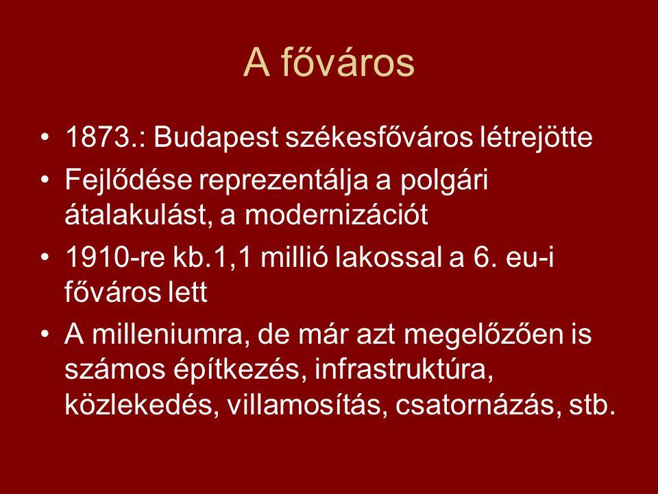 A főváros 1873.: Budapest székesfőváros létrejötte Fejlődése reprezentálja a polgári átalakulást, a modernizációt 1910-re kb.1,1 millió lakossal a 6.