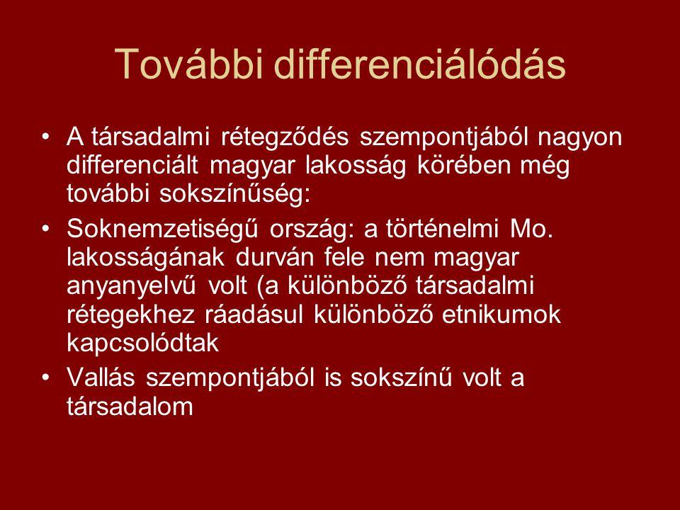 További differenciálódás A társadalmi rétegződés szempontjából nagyon differenciált magyar lakosság körében még további sokszínűség: Soknemzetiségű or