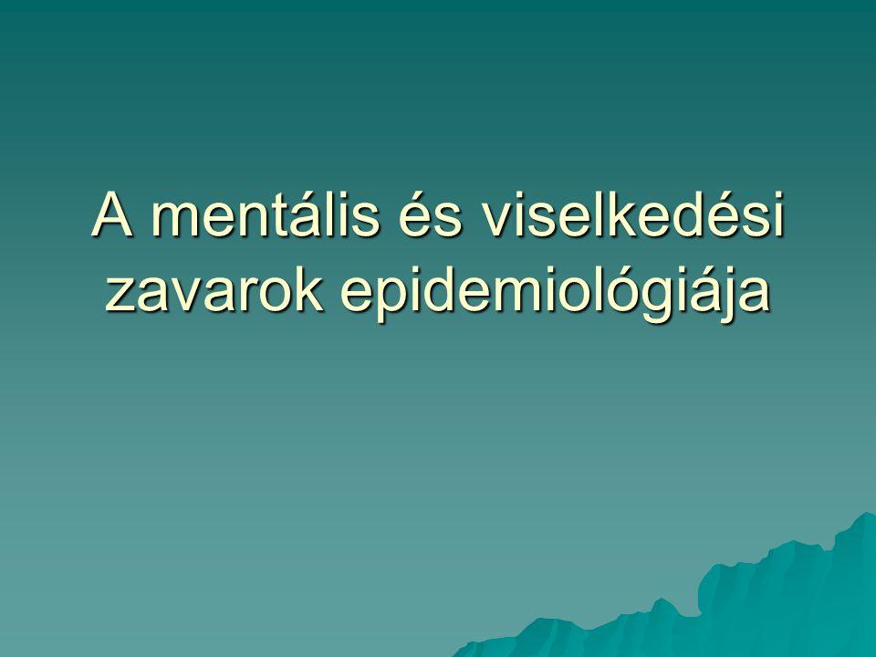 Mentális betegségek terhe  A világon 450 millió mentális beteg  4 ember közül egy mentális prob- lémával küszködik  A munkaképességcsökkenés leggya- koribb mentális oka a major depresszió  A depresszió a negyedik a tíz leg- nagyobb társadalmi terhet jelentő betegségek között