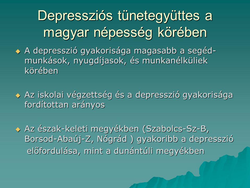 Depressziós tünetegyüttes a magyar népesség körében  A depresszió gyakorisága magasabb a segéd- munkások, nyugdíjasok, és munkanélküliek körében  Az