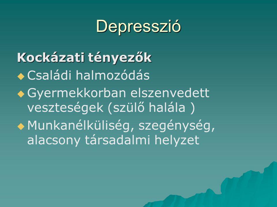 Depresszió Kockázati tényezők   Családi halmozódás   Gyermekkorban elszenvedett veszteségek (szülő halála )   Munkanélküliség, szegénység, alacs