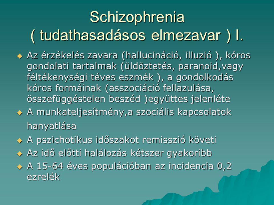Schizophrenia ( tudathasadásos elmezavar ) I.  Az érzékelés zavara (hallucináció, illuzió ), kóros gondolati tartalmak (üldöztetés, paranoid,vagy fél