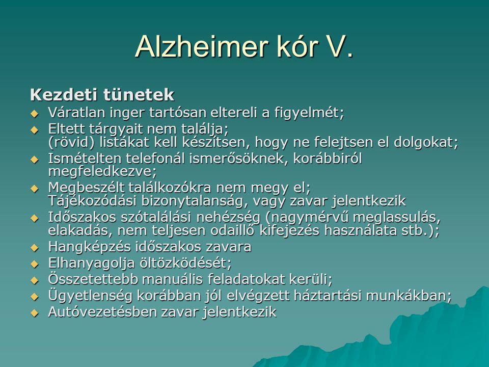 Alzheimer kór V. Kezdeti tünetek  Váratlan inger tartósan eltereli a figyelmét;  Eltett tárgyait nem találja; (rövid) listákat kell készítsen, hogy
