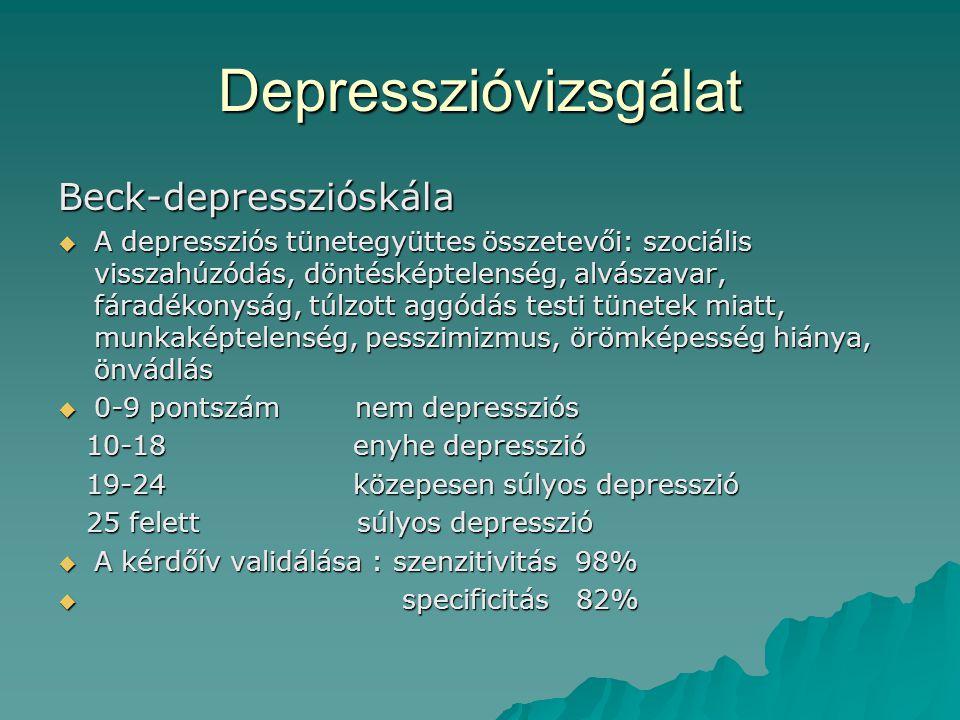 Depresszióvizsgálat Beck-depresszióskála  A depressziós tünetegyüttes összetevői: szociális visszahúzódás, döntésképtelenség, alvászavar, fáradékonys