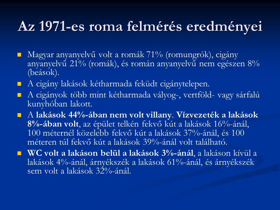 Az 1971-es roma felmérés eredményei Magyar anyanyelvű volt a romák 71% (romungrók), cigány anyanyelvű 21% (romák), és román anyanyelvű nem egészen 8% (beások).