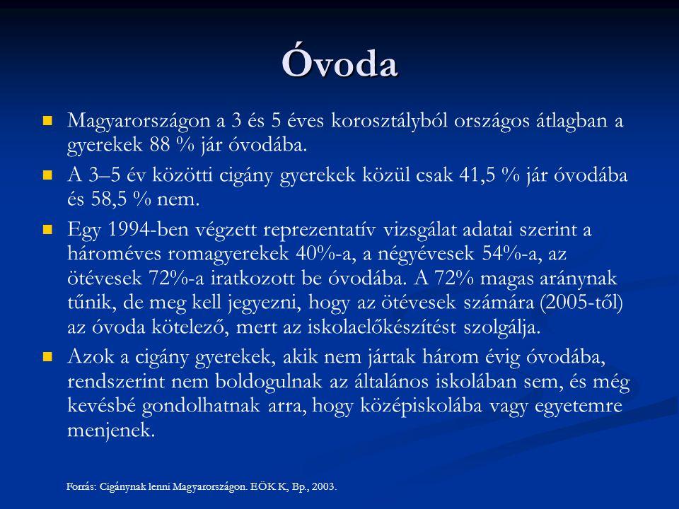 Óvoda Magyarországon a 3 és 5 éves korosztályból országos átlagban a gyerekek 88 % jár óvodába. A 3–5 év közötti cigány gyerekek közül csak 41,5 % jár