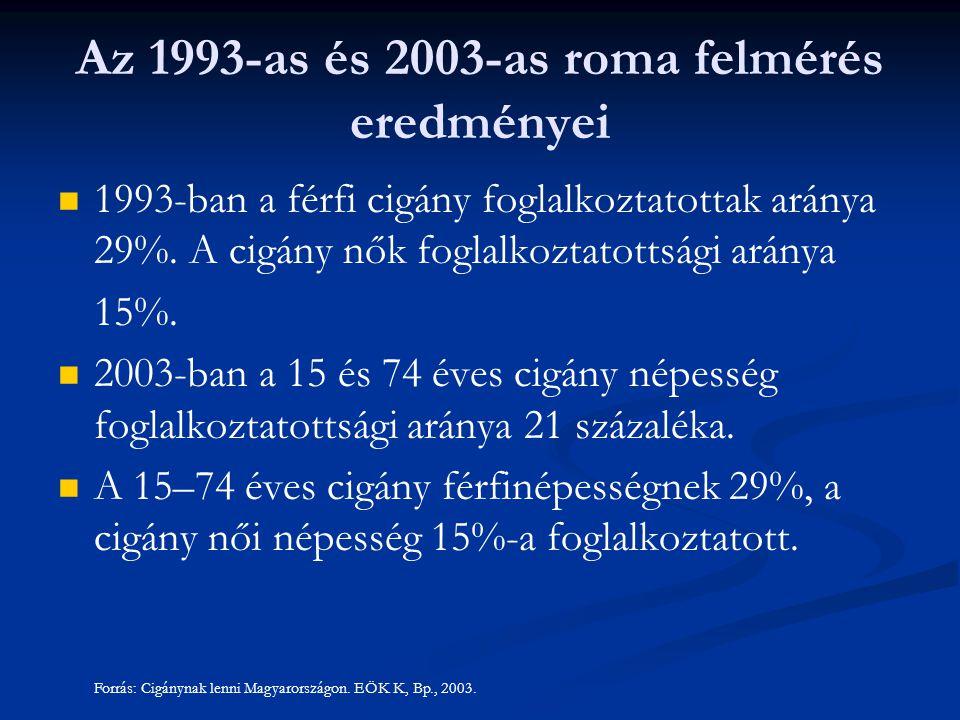 1993-ban a férfi cigány foglalkoztatottak aránya 29%. A cigány nők foglalkoztatottsági aránya 15%. 2003-ban a 15 és 74 éves cigány népesség foglalkozt