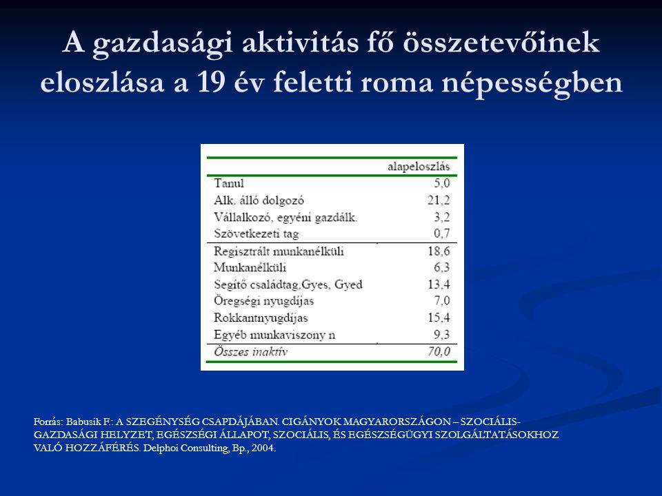 A gazdasági aktivitás fő összetevőinek eloszlása a 19 év feletti roma népességben Forrás: Babusik F.: A SZEGÉNYSÉG CSAPDÁJÁBAN.
