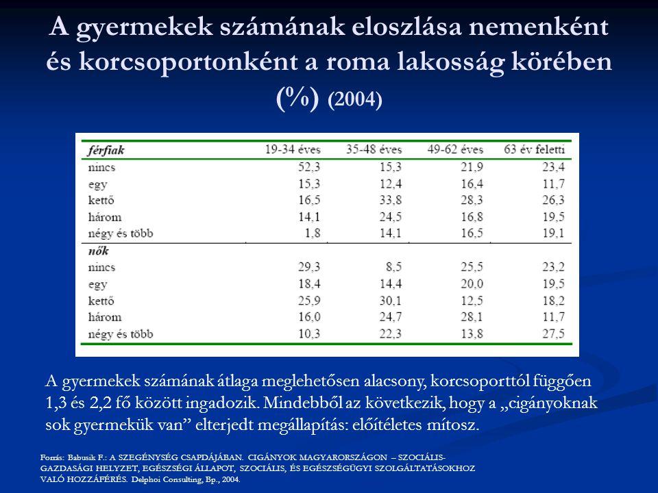 A gyermekek számának eloszlása nemenként és korcsoportonként a roma lakosság körében (%) (2004) A gyermekek számának átlaga meglehetősen alacsony, korcsoporttól függően 1,3 és 2,2 fő között ingadozik.