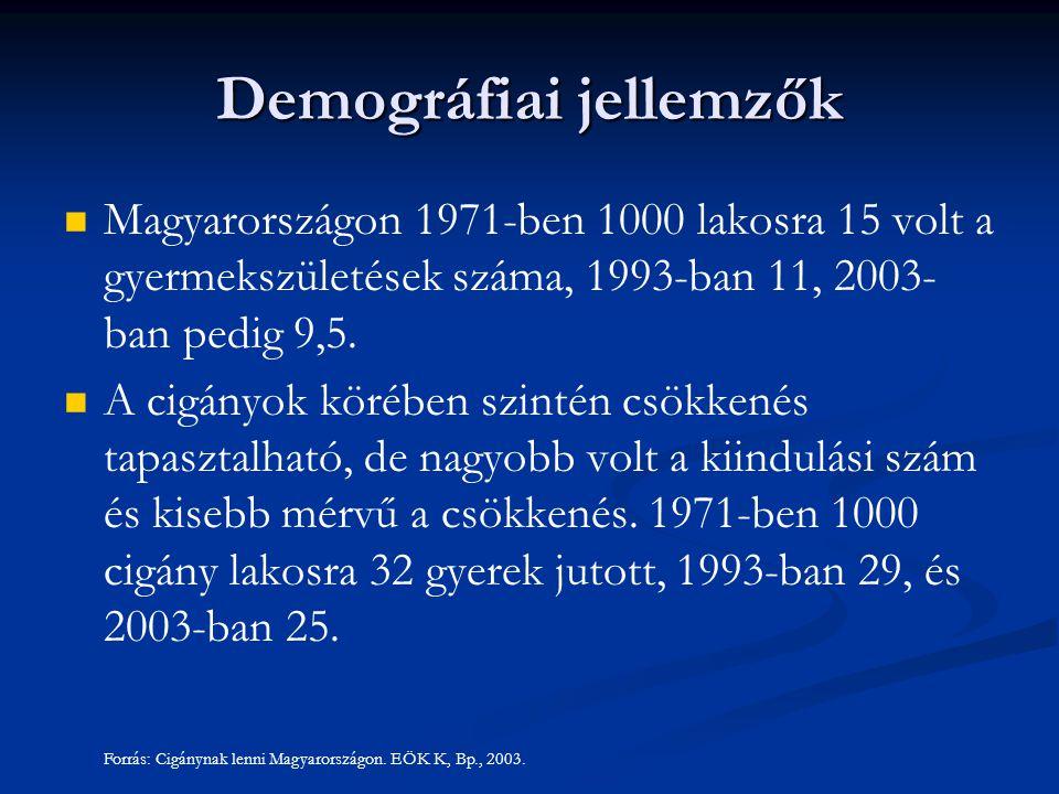 Demográfiai jellemzők Magyarországon 1971-ben 1000 lakosra 15 volt a gyermekszületések száma, 1993-ban 11, 2003- ban pedig 9,5. A cigányok körében szi