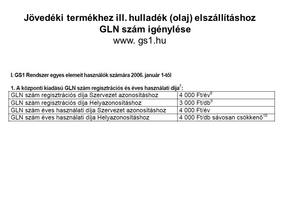 Jövedéki termékhez ill. hulladék (olaj) elszállításhoz GLN szám igénylése www. gs1.hu
