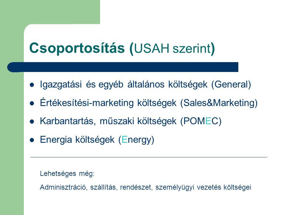 Csoportosítás ( USAH szerint ) Igazgatási és egyéb általános költségek (General) Értékesítési-marketing költségek (Sales&Marketing) Karbantartás, műsz