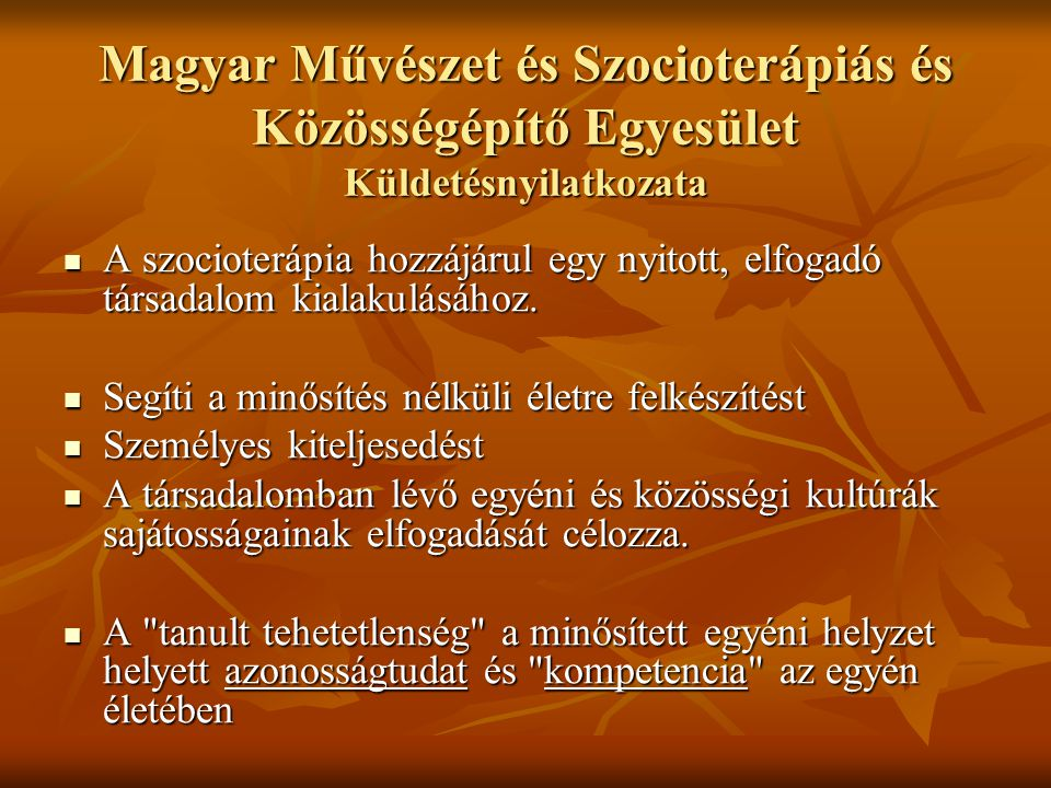 Magyar Művészet és Szocioterápiás és Közösségépítő Egyesület Küldetésnyilatkozata A szocioterápia hozzájárul egy nyitott, elfogadó társadalom kialakul