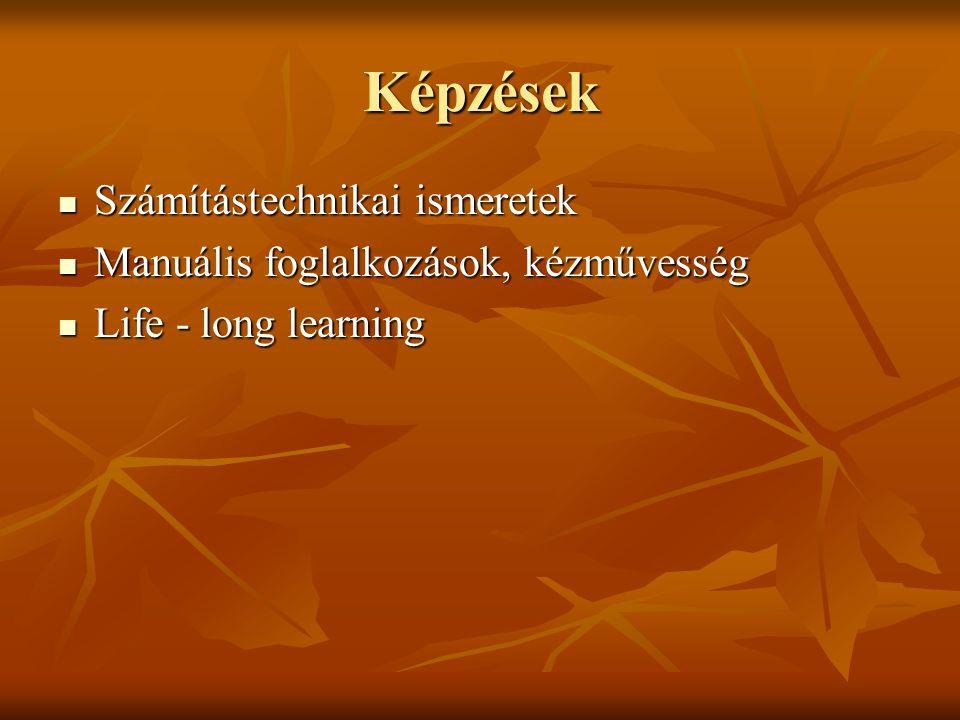 Képzések Számítástechnikai ismeretek Számítástechnikai ismeretek Manuális foglalkozások, kézművesség Manuális foglalkozások, kézművesség Life - long l