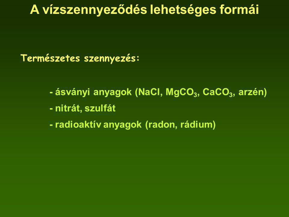 A vízszennyeződés lehetséges formái Természetes szennyezés: - ásványi anyagok (NaCl, MgCO 3, CaCO 3, arzén) - nitrát, szulfát - radioaktív anyagok (ra