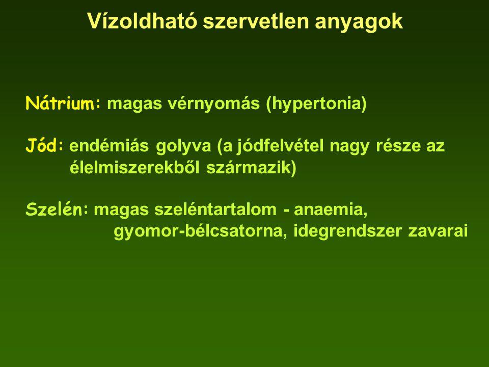 Vízoldható szervetlen anyagok Nátrium: magas vérnyomás (hypertonia) Jód: endémiás golyva (a jódfelvétel nagy része az élelmiszerekből származik) Szelé