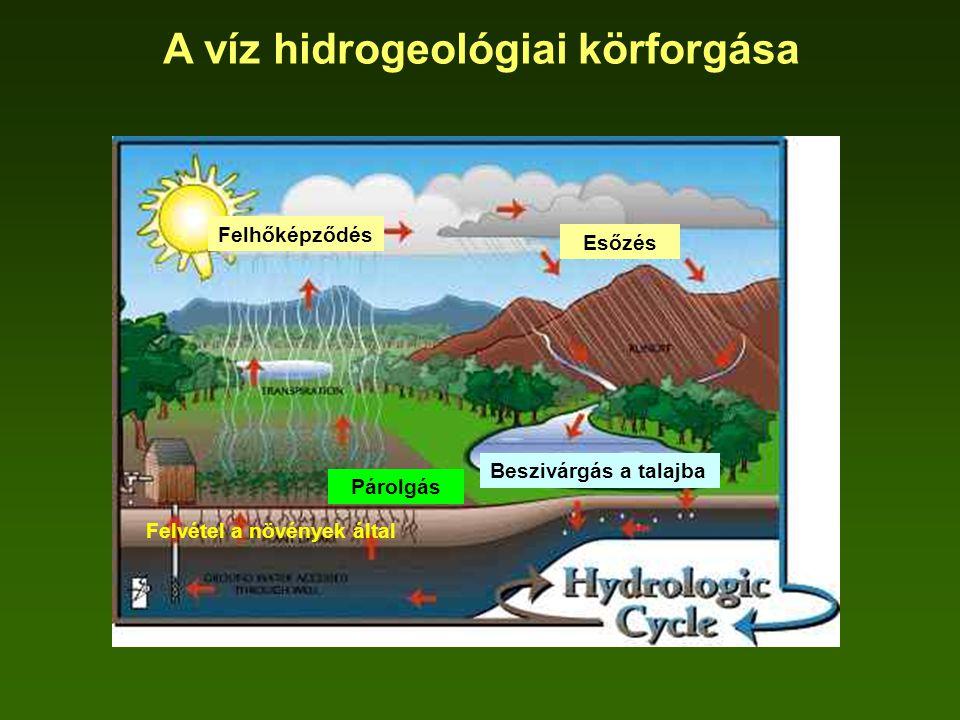 A víz hidrogeológiai körforgása Esőzés Felhőképződés Beszivárgás a talajba Felvétel a növények által Párolgás