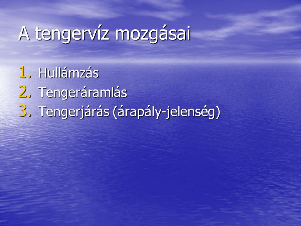 A tengervíz mozgásai 1. Hullámzás 2. Tengeráramlás 3. Tengerjárás (árapály-jelenség)