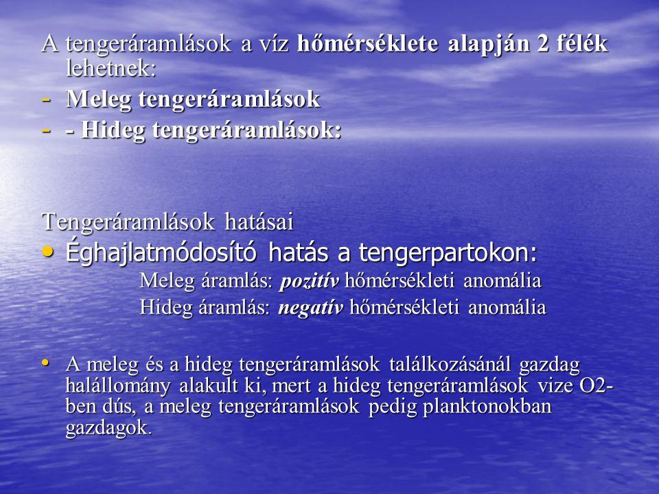 A tengeráramlások a víz hőmérséklete alapján 2 félék lehetnek: - Meleg tengeráramlások - - Hideg tengeráramlások: Tengeráramlások hatásai Éghajlatmódo