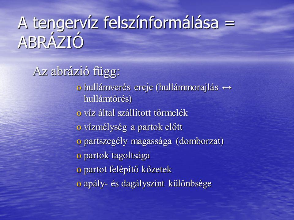 A tengervíz felszínformálása = ABRÁZIÓ Az abrázió függ: ohullámverés ereje (hullámmorajlás ↔ hullámtörés) ovíz által szállított törmelék ovízmélység a