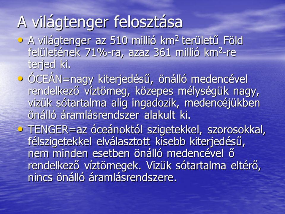 A világtenger felosztása A világtenger az 510 millió km 2 területű Föld felületének 71%-ra, azaz 361 millió km 2 -re terjed ki. A világtenger az 510 m