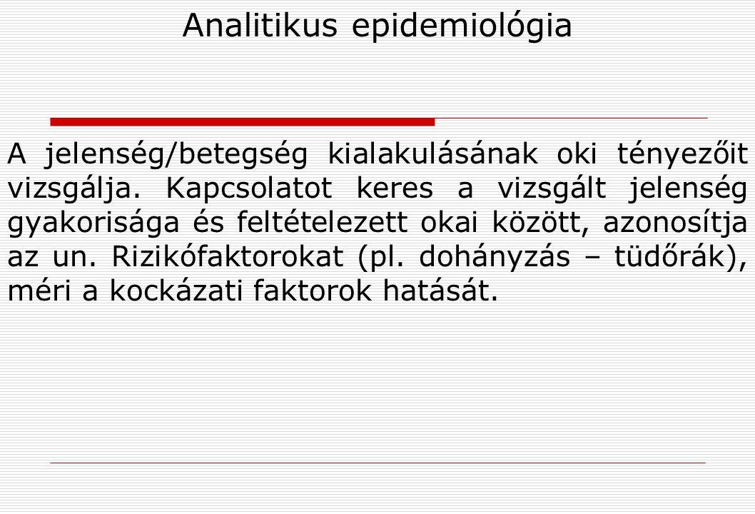Experimentális epidemiológia Az ok-okozati kapcsolat bizonyítása a feltételezett kóroki tényező és a betegség kialakulása között (pl.
