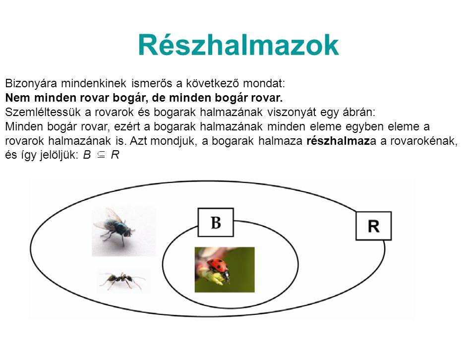 Részhalmazok Bizonyára mindenkinek ismerős a következő mondat: Nem minden rovar bogár, de minden bogár rovar.