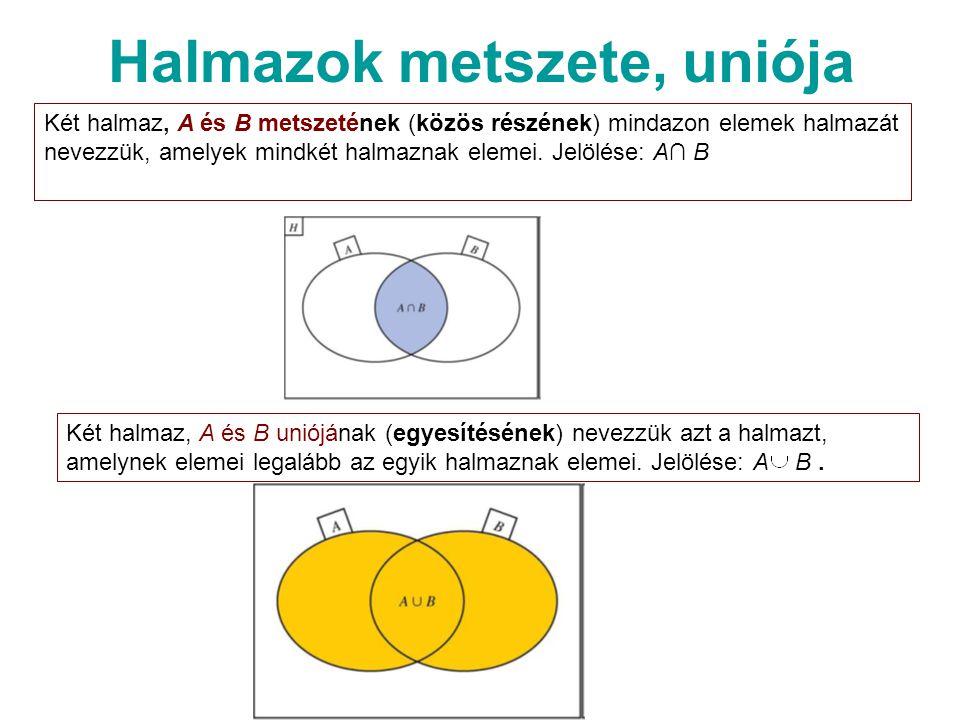 Halmazok metszete, uniója Két halmaz, A és B metszetének (közös részének) mindazon elemek halmazát nevezzük, amelyek mindkét halmaznak elemei.