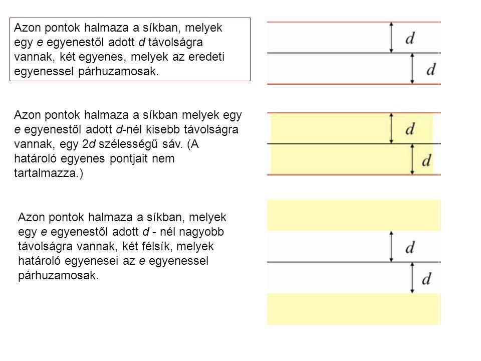 Azon pontok halmaza a síkban, melyek egy e egyenestől adott d távolságra vannak, két egyenes, melyek az eredeti egyenessel párhuzamosak.