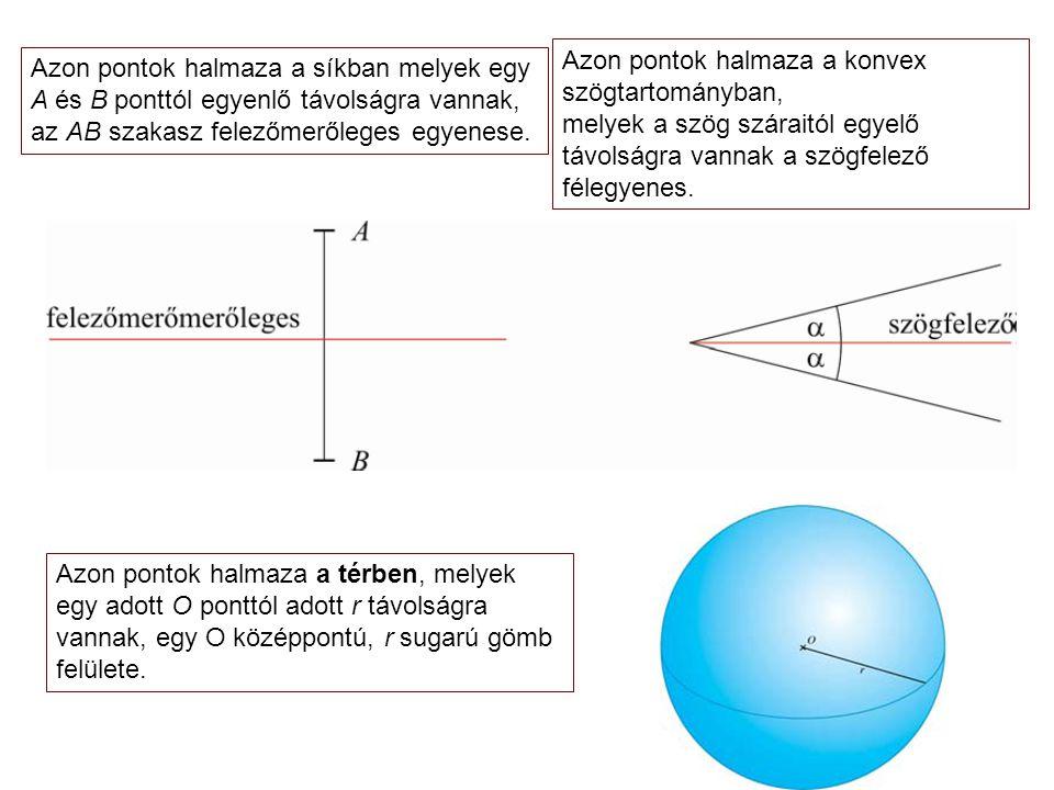 Azon pontok halmaza a síkban melyek egy A és B ponttól egyenlő távolságra vannak, az AB szakasz felezőmerőleges egyenese.