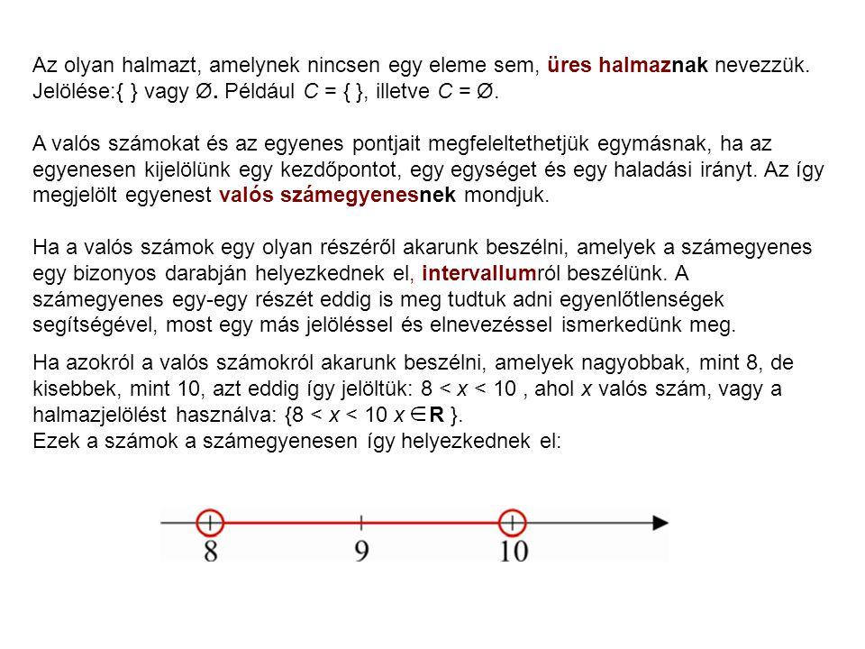 Mintapélda Jelentse A azon P(x;y) pontok halmazát a koordinátasíkon, melyeknek koordinátáira igaz, hogy |x| > 2.Jelentse B azon P(x;y) pontok halmazát a koordinátasíkon, melyeknek koordinátáira igaz, hogy |y| < 3.