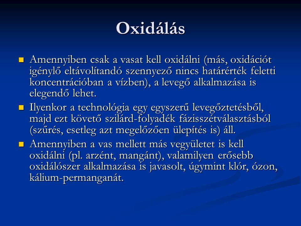 Oxidálás Amennyiben csak a vasat kell oxidálni (más, oxidációt igénylő eltávolítandó szennyező nincs határérték feletti koncentrációban a vízben), a l