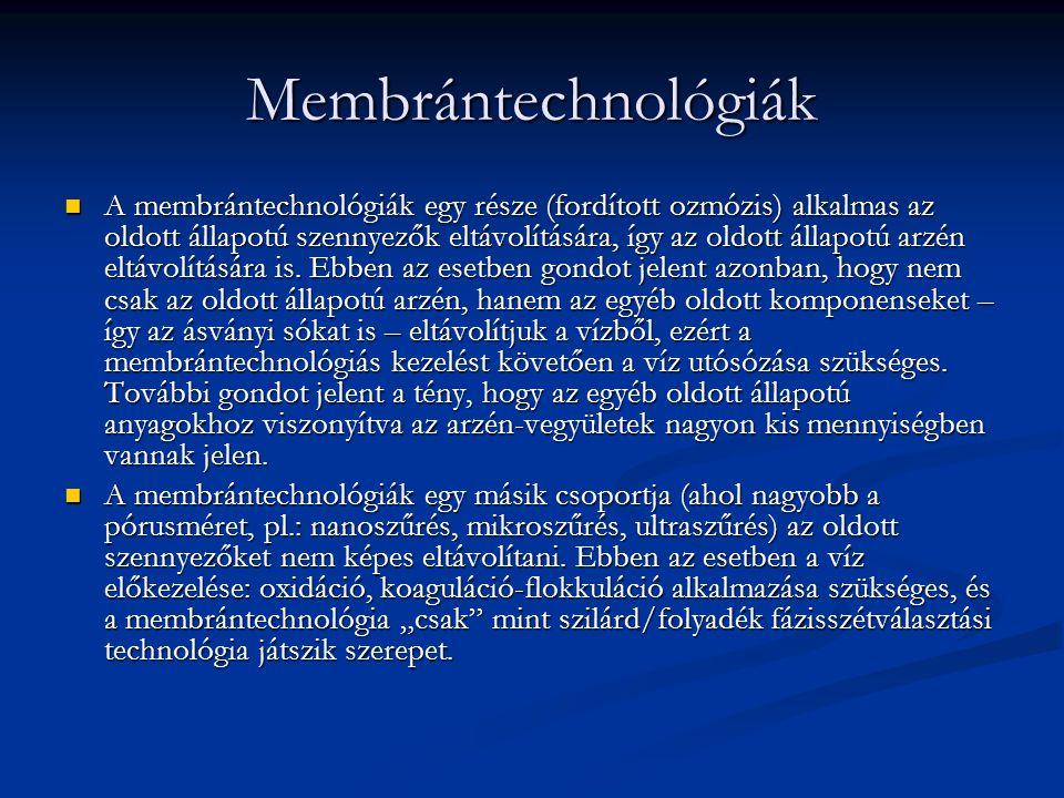 Membrántechnológiák A membrántechnológiák egy része (fordított ozmózis) alkalmas az oldott állapotú szennyezők eltávolítására, így az oldott állapotú