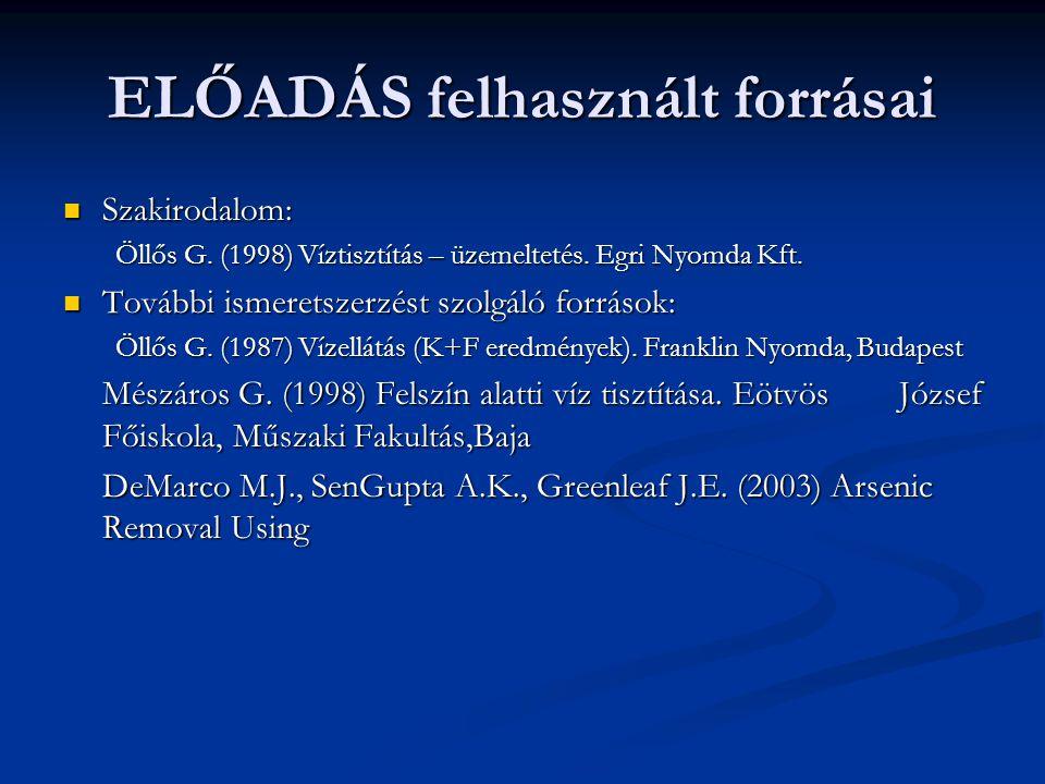 ELŐADÁS felhasznált forrásai Szakirodalom: Szakirodalom: Öllős G. (1998) Víztisztítás – üzemeltetés. Egri Nyomda Kft. További ismeretszerzést szolgáló