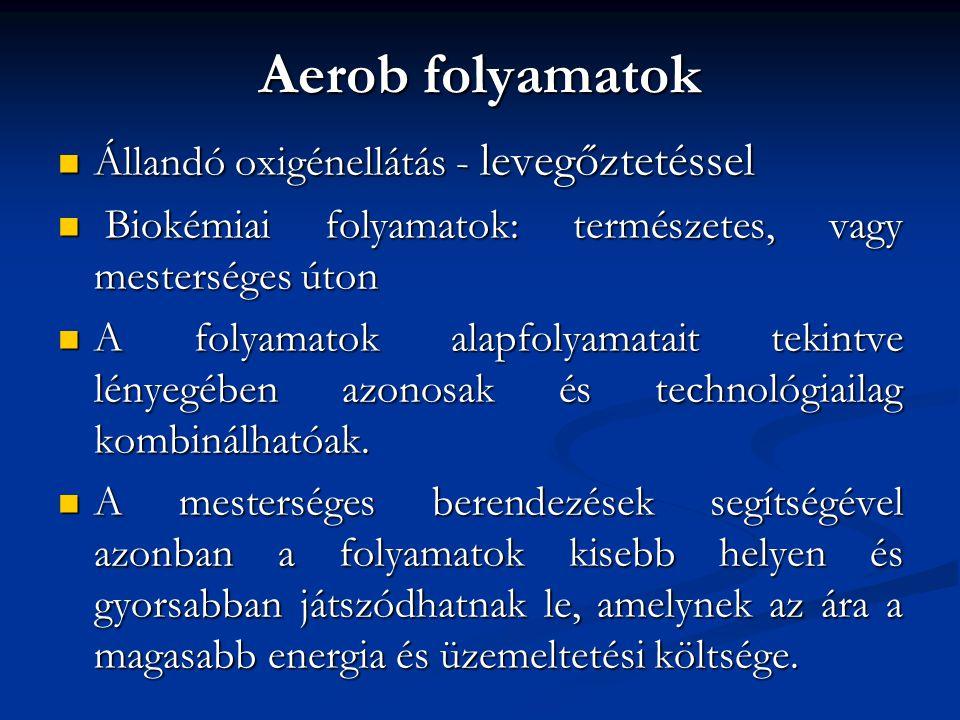 Aerob folyamatok Állandó oxigénellátás - levegőztetéssel Állandó oxigénellátás - levegőztetéssel Biokémiai folyamatok: természetes, vagy mesterséges ú