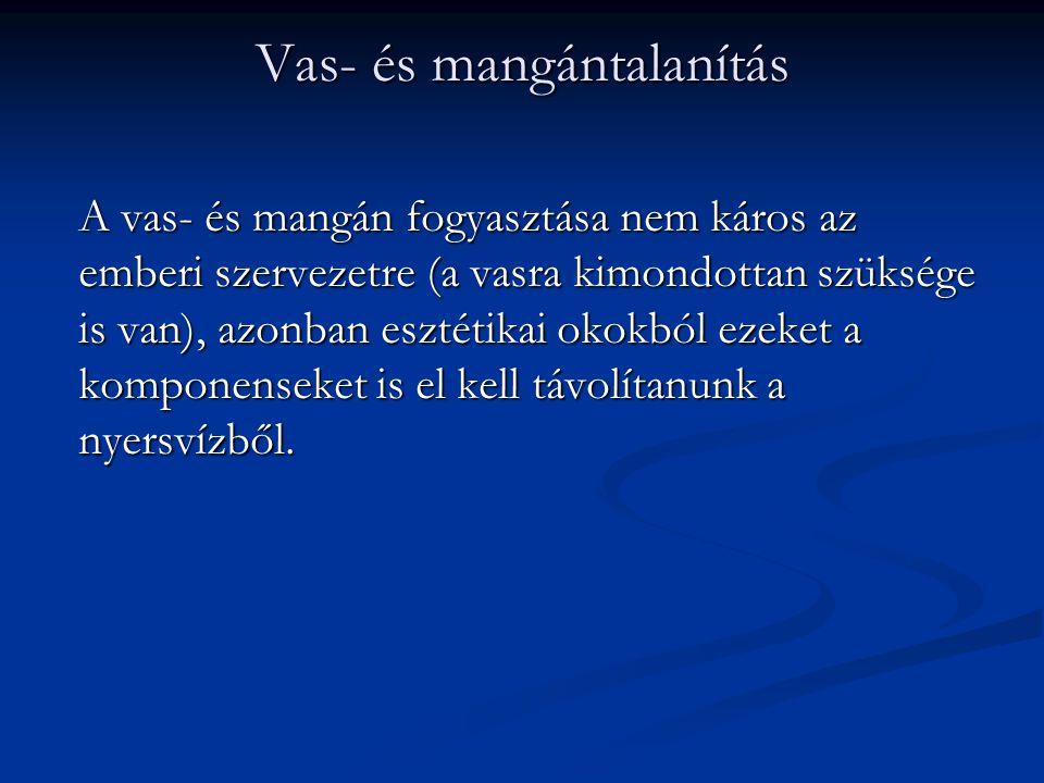 Vas- és mangántalanítás A vas- és mangán fogyasztása nem káros az emberi szervezetre (a vasra kimondottan szüksége is van), azonban esztétikai okokból