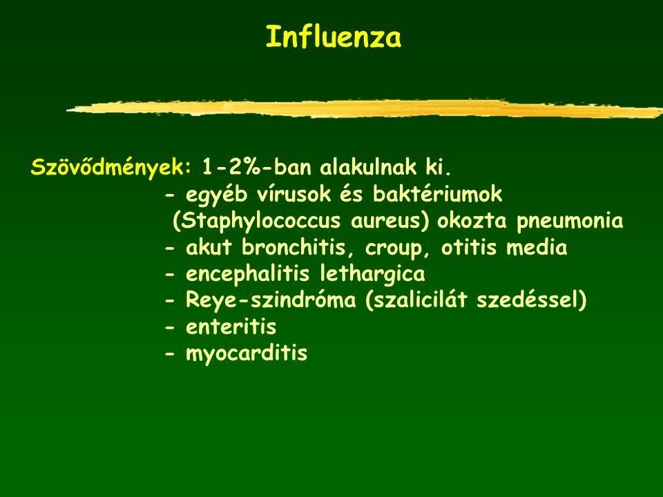 Influenza Szövődmények: 1-2%-ban alakulnak ki. - egyéb vírusok és baktériumok (Staphylococcus aureus) okozta pneumonia - akut bronchitis, croup, otiti