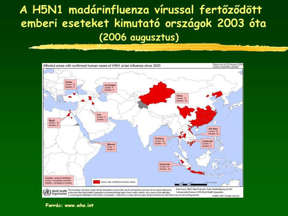 A H5N1 madárinfluenza vírussal fertőződött emberi eseteket kimutató országok 2003 óta (2006 augusztus)