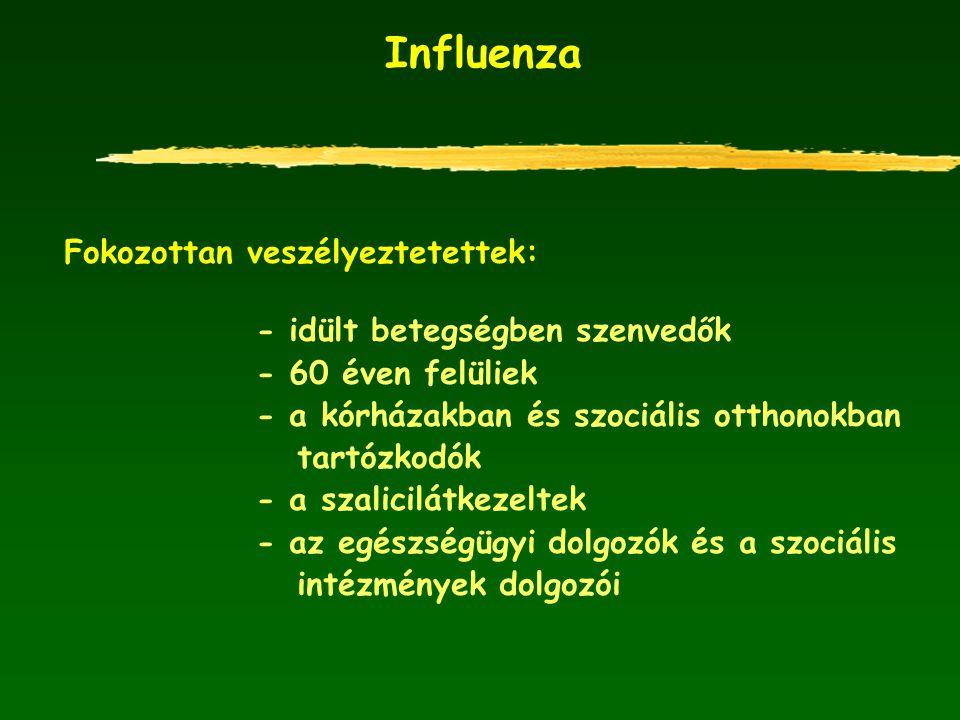 Influenza Fokozottan veszélyeztetettek: - idült betegségben szenvedők - 60 éven felüliek - a kórházakban és szociális otthonokban tartózkodók - a szal